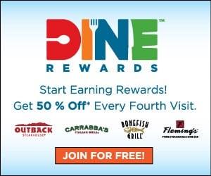Score Free Dine Rewards To Bloomin Brands Restaurants